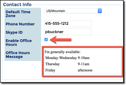 Office Hours, on Settings page
